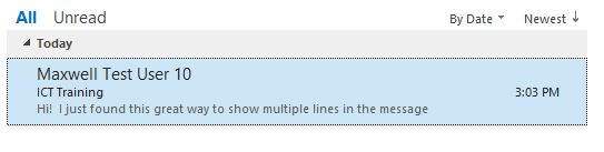 Message preview - one line