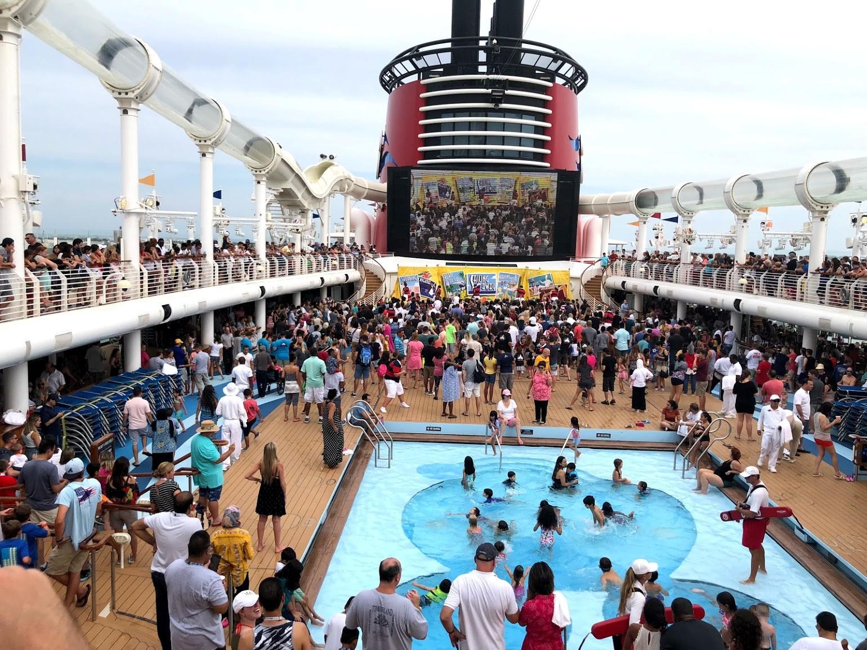 Disney cruise ship swimming pool area