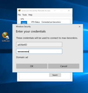 Remote desktop - enter computer name i.e. max-yourvm.ad.syr.edu