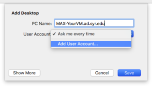 """In the user account field, select """"Add user account"""" from the drop down menu."""