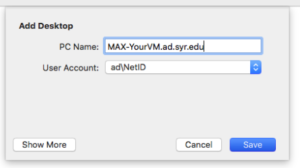 """Select your account in the the """"User account"""" drop down box, then click on the """"Save"""" button."""
